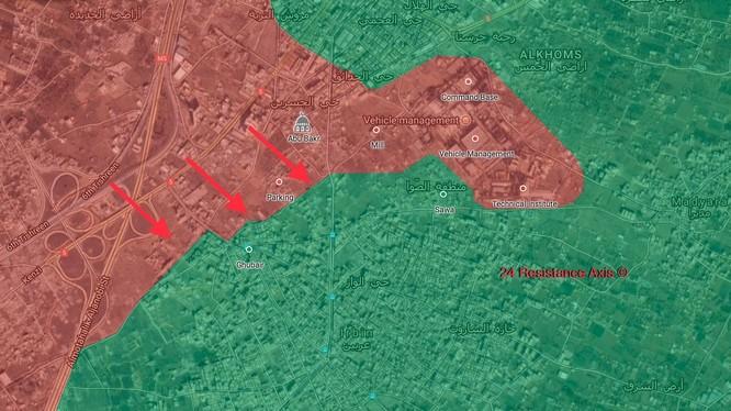 Các mũi tiến công của quân đội Syria trên khu vực chiến trường quận Harasta gần căn cứ Thiết giáp Đông Ghouta. ảnh Muraselon