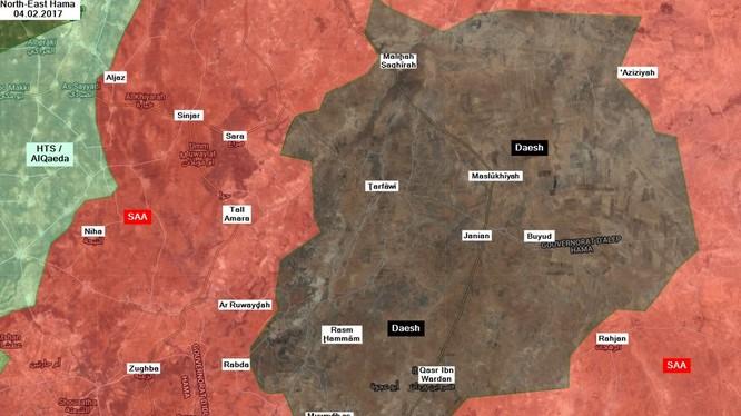 Các mũi tiến công của quân đội Syria tính đến ngày 04.02.2018 theo South Front