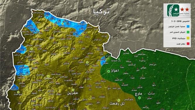bản đồ chiến trường khu vực Arin tính đến ngày 04.02.2018 theo South Front