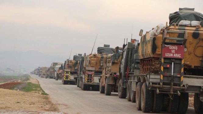 Đoàn xe quân sự quân đội Thổ Nhĩ Kỳ trên vùng nông thôn Aleppo - ảnh minh họa video