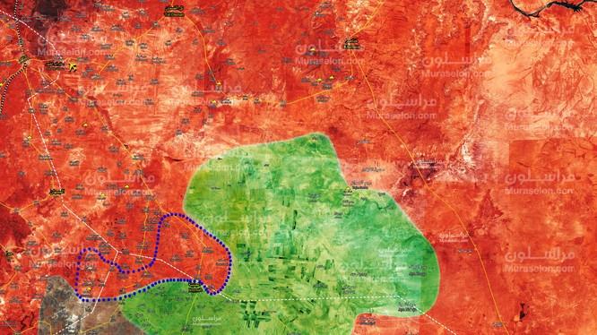 Bản đồ tình hình chiến sự Syria, khu vực đông bắc tỉnh Hama. ảnh Muraselon