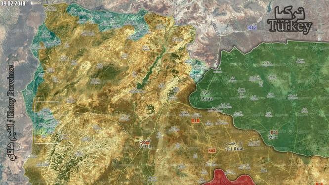 Khu vực tấn công của Liên quân Thổ Nhĩ Kỳ - FSA trên chiến trường Afrin. Ảnh truyền thông Thổ Nhĩ Kỳ