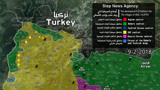 Tình hình phân bổ các lực lượng đối kháng trên chiến trường Afrin - ảnh South Front