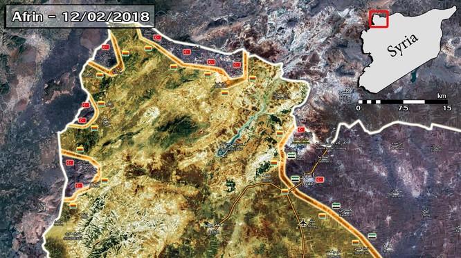 Tình hinh chiến sự khu vực chiến trường Afrin, người Kurd đang mất dần địa bàn. ảnh South Front