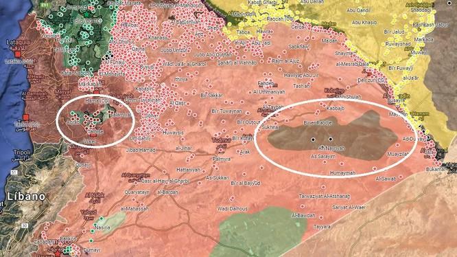 Hai khu vực chiến trường trọng yếu mà quân đội Syria phải giải quyết trong giai đoạn tiếp theo của cuộc chiến tranh. Bản đồ Muraselon