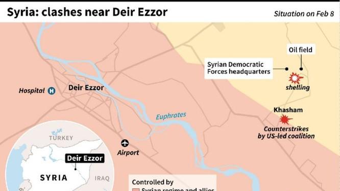 Vụ không kích của không quân liên minh do Mỹ dẫn đầu đánh vào chiến tuyến quân đội Syria - ảnh AFP
