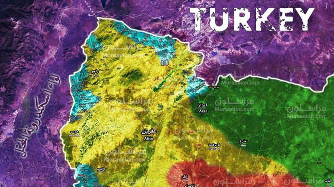 Tổng quan chiến trường Afrin, Aleppo tính đến ngày 15.02.2018 theo Muraselon