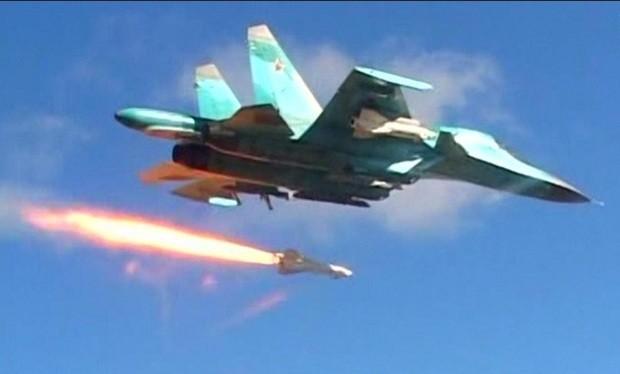 Máy bay chiến đấu Su - 34 Nga không kích, ảnh minh họa Masdar News