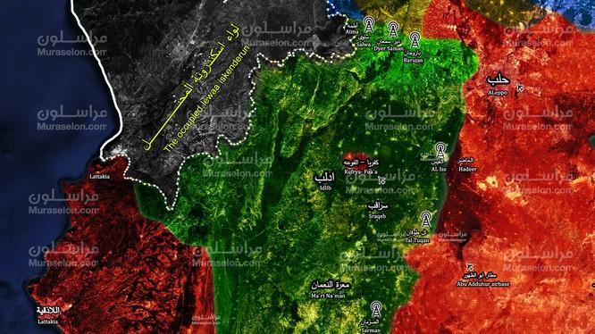 Bản đồ các trạm kiểm soát ngừng bắn của Thổ Nhĩ Kỳ trong khu vực tỉnh Idlib - ảnh Muraselon