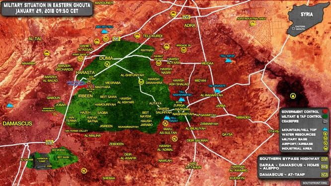 Bản đồ khu vực Đông Ghouta, ngoại ô Damascus - ảnh South Front