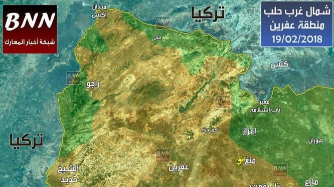 Tổng quan tình hình chiến tuyến Afrin tính đến ngày 19.02.2018 theo BNN - ảnh South Front