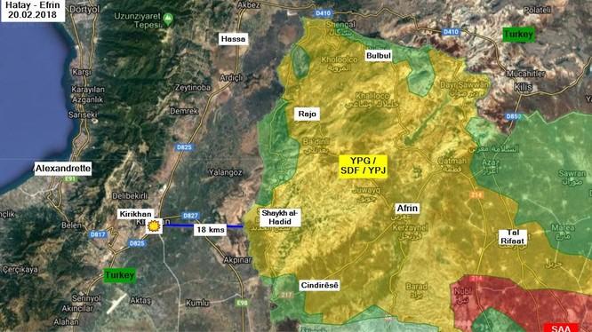 Tình hình chiến sự Afrin ngày 20.02.2018 theo South Front - ảnh minh họa South Front