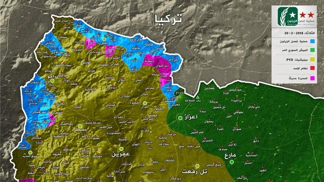 Các vùng chiến sự trong khu vực Afrin ngày 20.02.2018, bản đồ lực lượng FSA được Ankara hậu thuẫn.