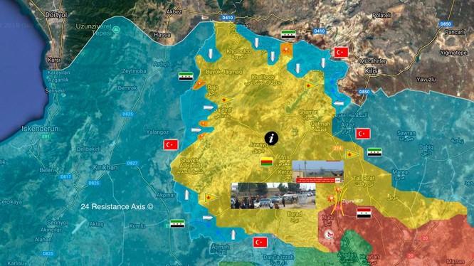 Tình hình chiến sự khu vực Afrin tính đến ngày 20.02.2018 theo truyền thông Thổ Nhĩ Kỳ. Ảnh minh họa South Front