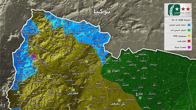 """Bản đồ Afrin tính đến ngày 23.02.2018 - ảnh mịnh họa truyền thông """"đối lập"""" Syria"""