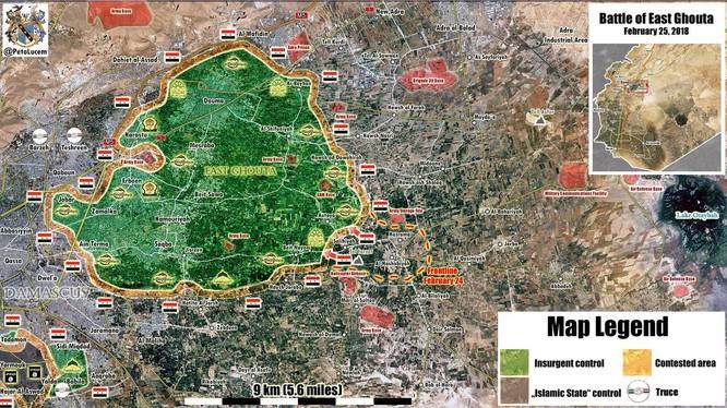 Bản đồ chiến sụ khu vực Đông Ghouta ngày 24 - 25.02.2018 theo South Front