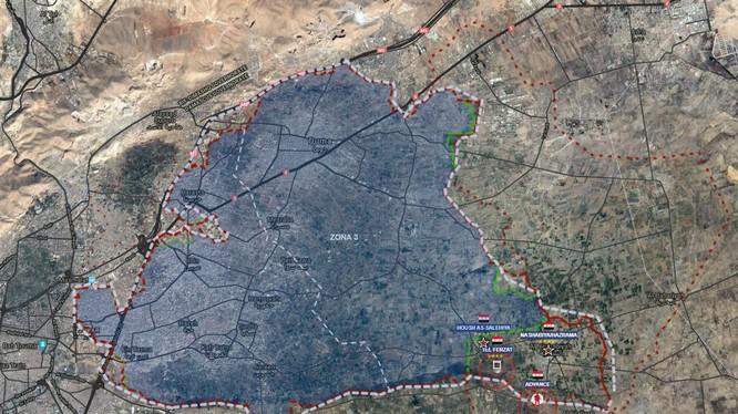 Các mũi tiến công của quân đội Syria vào khu vực Đông Ghouta, ảnh Muraselon