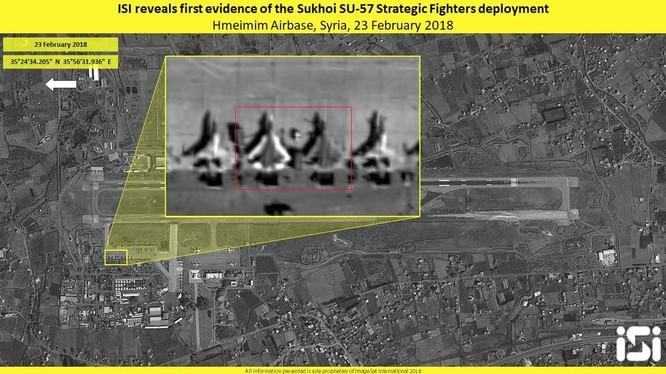 Hai chiếc tiêm kích tàng hình thế hệ 5 Su-57 trên căn cứ không quân Khmeimim, Latakia, Syria
