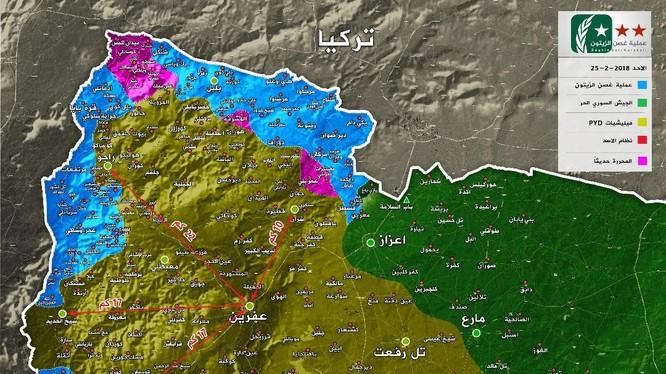 """Tình hình chiến sự vùng Afrin, từ các vị trí của FSA đến thành phố dưới 20 km. ảnh truyền thông """"đối lập"""" Syria"""