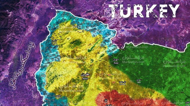 Bản đồ tình hình chiến sự Afrin tính đến ngày 26.02.2018 theo Muraselon