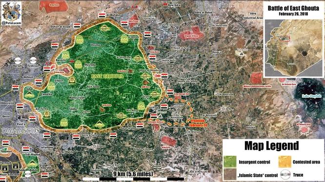 Bản đồ vùng chiến sự Đông Ghouta - ảnh minh họa South Front