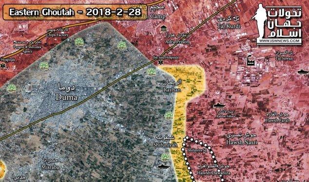 Lực lượng Tiger đánh chiếm thị trấn Hawsh Dawahra trên vùng nông thôn phía đông Đông Ghouta - ảnh Masdar News