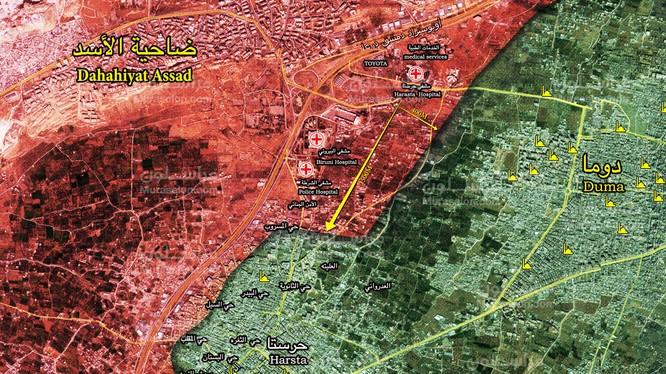 Tổng quan tình hình chiến sự khu vực Harasta, Đông Ghouta ngày 28.02.2018 theo Muraselon