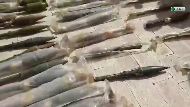 Những vũ khí đạn dược thu được của phiến quân ở Đông Ghouta