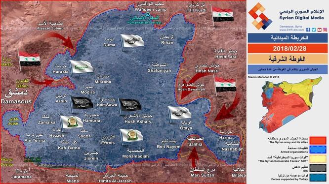 Phân bổ lực lượng và các mũi tiến công của quân đội Syria trên chiến trường Đông Ghouta - ảnh Syrian Digital Media