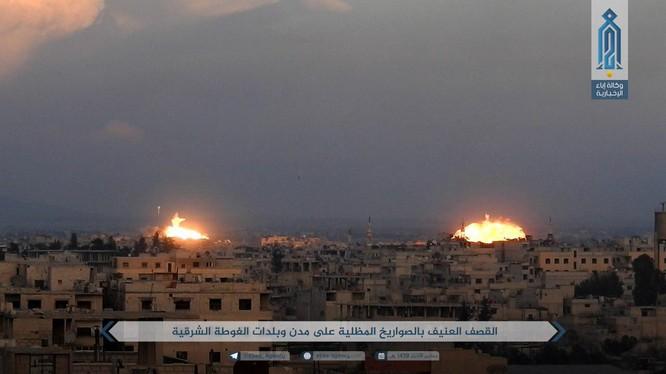 Không quân Nga, Syria không kích dữ dội chiến trường Đông Ghouta - ảnh minh họa trang Iba'a, cơ quan truyền thông Al-Qaeda Syria