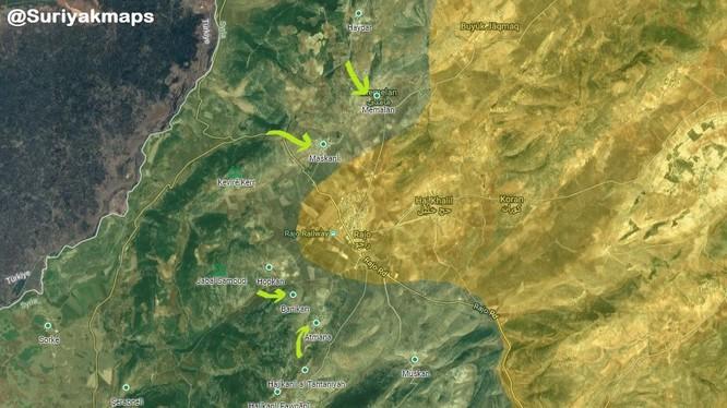 Các mũi tiến công của liên quân Thổ Nhĩ Kỳ - FSA trên hướng thị trấn Rajo - ảnh minh họa South Front