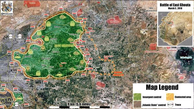 Tồng quan tình hình chiến trường Đông Ghouta ngày 03.03.2018 theo Masdar News