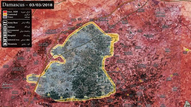 Chiến trường Đông Ghouta đang nhanh chóng bị thu hẹp lại trước các cuộc tấn công của quân đội Syria