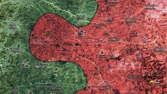 Thị trấn mới giải phóng trên vùng nông thôn Đông Ghouta - ảnh Muraselon