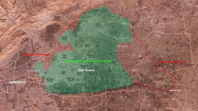 Bản đồ chiến trường khu vực Đông Ghouta tính đến ngày 03.03.2018 theo South Front
