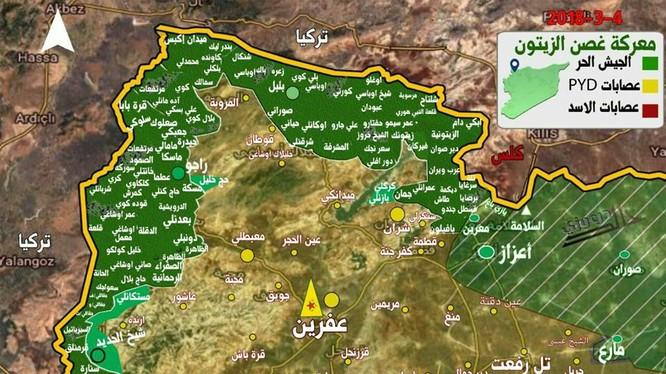 Tình hình chiến sự khu vực Afrin tính đến ngày 04.02.2018 theo South Front