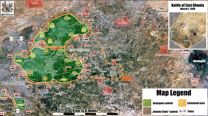 Quân đội Syria còn cách căn cứ Thiết giáp 3,5 km, sẵn sàng chia cắt Đông Ghouta - ảnh minh họa Muraselon