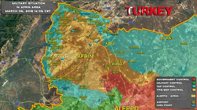 Bản đồ tình hình chiến sự Afrin tính đến ngày 05.03.2018 theo South Front
