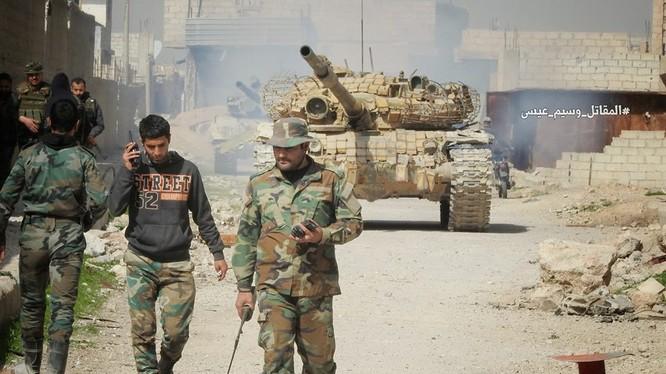 Các đơn vị quân đội Syria trong làng Al-Muhammadiyah, ảnh minh họa truyền thông Syrian Reporters