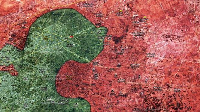 Quân đội Syria giải phóng làng Al-Muhammadiyah (trong vòng tròn) - ảnh Muraselon