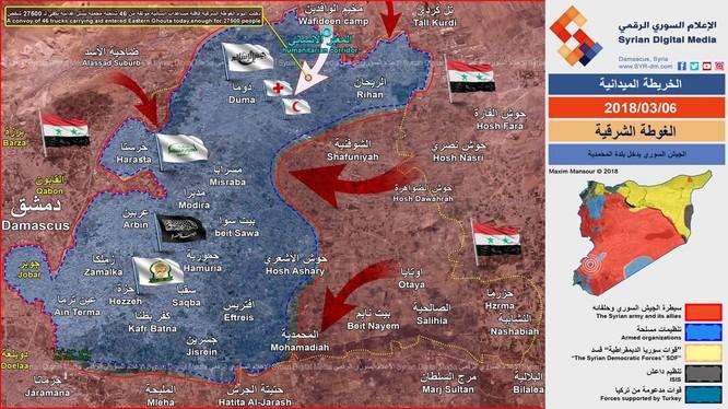 Các mũi tiến công của quân đội Syria, hướng cơ động di chuyển của đoàn xe viện trợ nhân đạo Chữ thập đỏ quốc tế - ảnh Syrian Digital Media