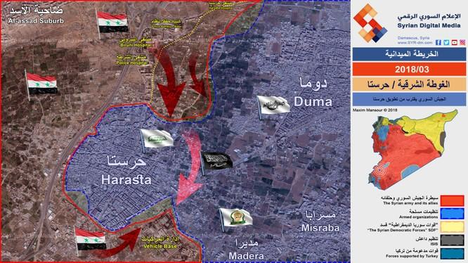 Bản đồ hướng tấn công chính của lực lượng sư đoàn cơ giới số 4 ở Đông Ghouta - ảnh Syrian Digital Media