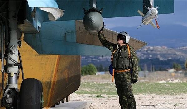 Căn cứ không quân Khmeimim, trước giờ xuất kích yểm trợ quân đội Syria ở Đông Ghouta. ảnh minh họa Masdar News