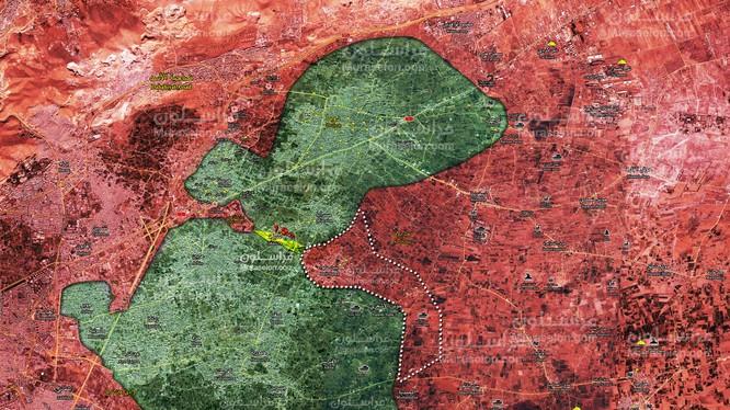 Quân đội Syria giải phóng thị trấn Beit Sawa, cách căn cứ thiết giáp 1,5 km. bản đồ Muraselon