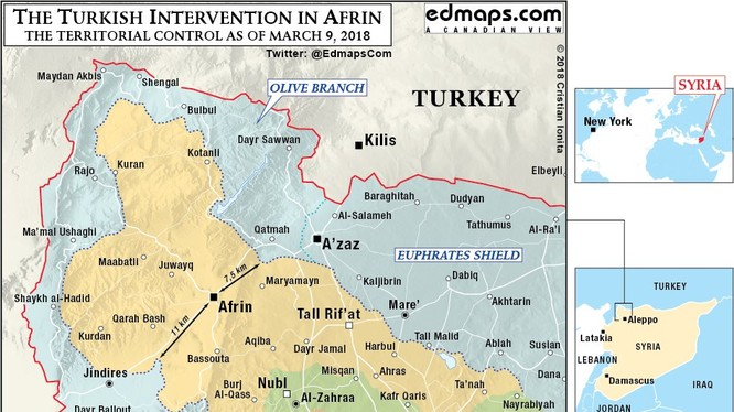 Tình hình chiến sự khu vực Afrin tính đến ngày 09.03.2018 theo South Front