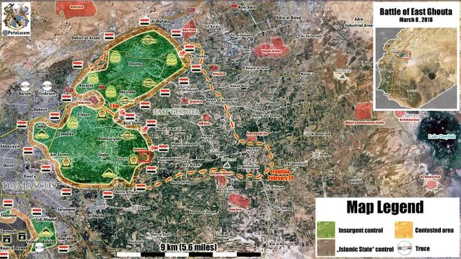 Các đơn vị quân đội Syria sẵn sàng chia cắt khu vực Đông Ghouta thành 2 vùng chiến sự bị bao vây. Ảnh Masdar News