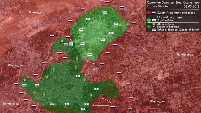Tình hình chiến sự chiến trường Đông Ghouta ngày 08.03.2018 theo Muraselon