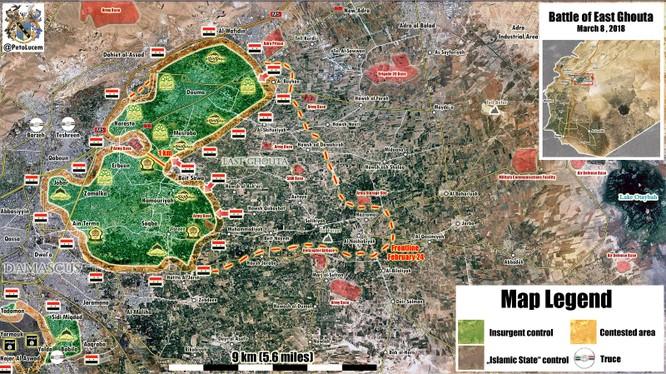Bản đồ tình hình chiến sự Đông Ghouta ngày 08.03.2018 theo Al-Massdar News