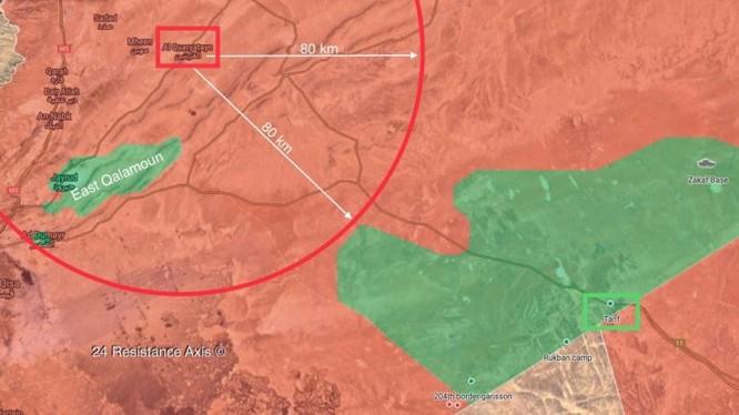 Khu vực kiểm soát an ninh của quân đội Syria sát vùng an toàn căn cứ Mỹ - ảnh South Front