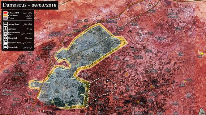 Tình hình chiến sự khu vực Đông Ghouta - ảnh Muraselon